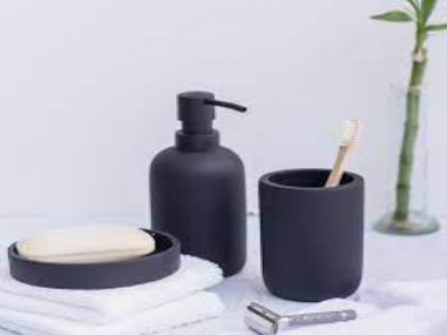 Set Baño 3 Piezas Cerámica Dispenser de Jabon Jabonera y Vaso Azabache