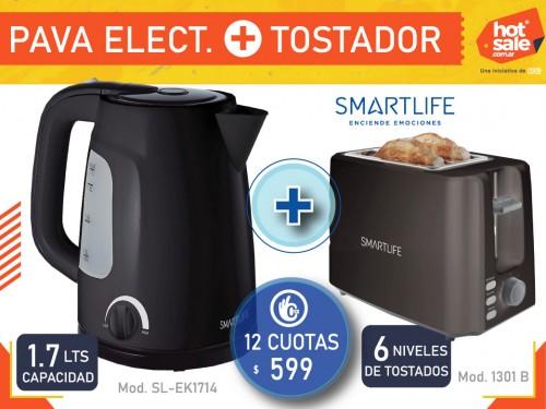 Pava Electrica 1.7 Lts Corte + Tostadora 2 reb., 6 niveles SMARTLIFE