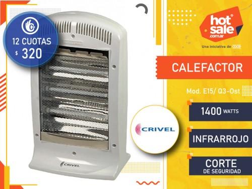 Calefactor E15/Q-3 Infrarrojo Fijo 1400 Wts, Crivel
