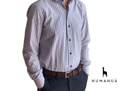 Camisa de Hombre Manga Larga Algodón Rayada Celeste Humahua Julio