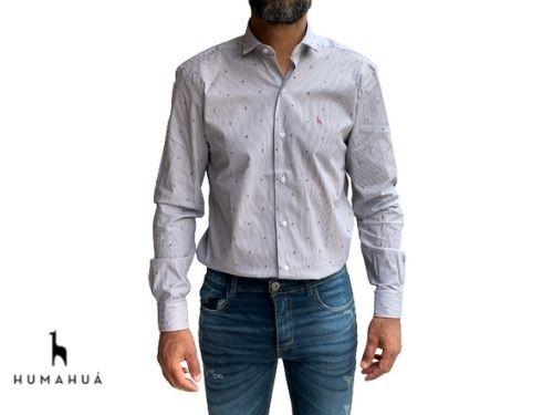 Camisa de Hombre Manga Larga Algodón Humahua Rayos Gris Plomo