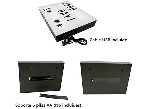 Cartel Luminoso Led Pizarra Lampara A4 Decoración Letras USB