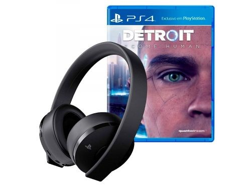 Auriculares PlayStation Gold Negro Headset PS4 + JUEGO PS4 DETROIT