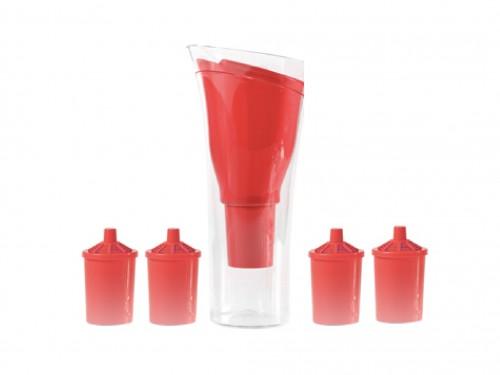 Jarra Purificadora de agua Dvigi Roja + 4 repuestos