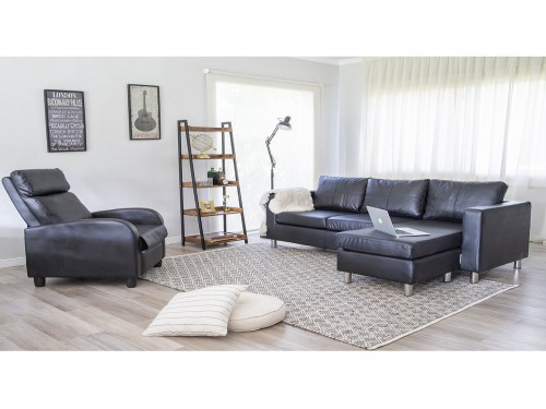Sofa Ecocuero En L Negro