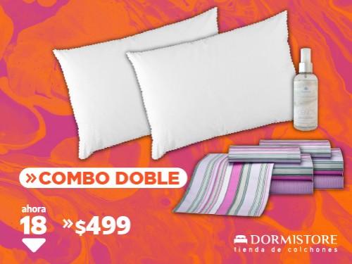 2 Juegos de sábanas 1 ½ plaza 180 hilos + 2 almohadas de fibra + bruma