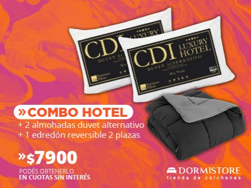 Edredón reversible 2 plazas negro/gris + 2 almohadas Hotel simil duvet