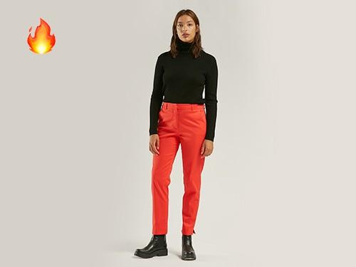Pantalón Clásico Cotton Saten Rojo