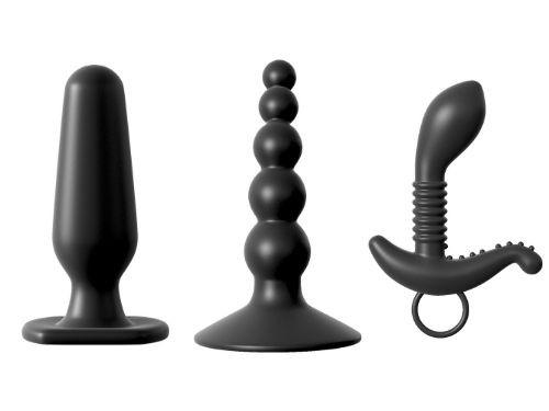 Colección Kit de 3 Consoladores Anales de Silicona Negra Anal Fantasy