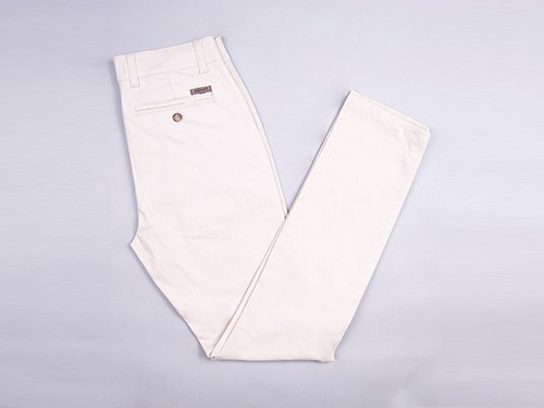 Pantalón Elastizado De Gabardina Lisa Slim Fit