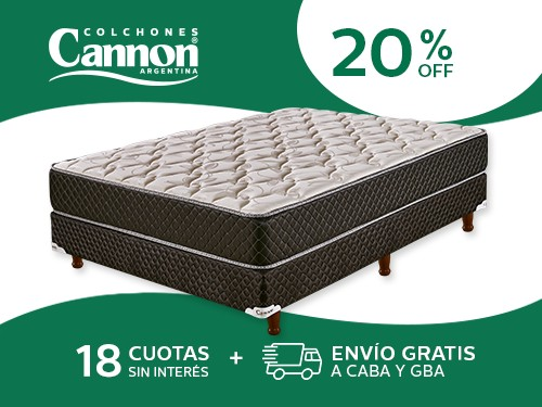 Sommier y Colchón Cannon Exclusive 190x140 Espuma 2 Plazas