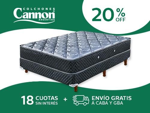 Sommier y Colchón Cannon Doral 190x140 Resortes 2 Plazas