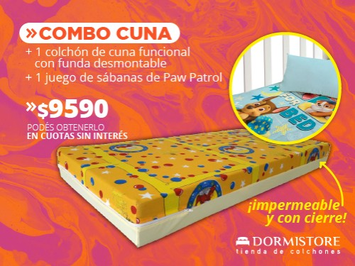 Colchón cuna funcional Suavestar (1 lado impermeable) + sábana Piñata