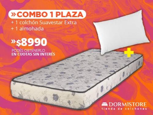 Colchón espuma 1 plaza matelasseado Suavestar + almohada de fibra soft