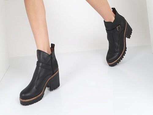 Botineta Mujer Cuero Briganti Bota Zapato Negro Sabinal