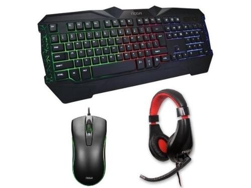 Kit gamer Teclado LED Mouse LED Auricular Retroiluminado Noga Combo