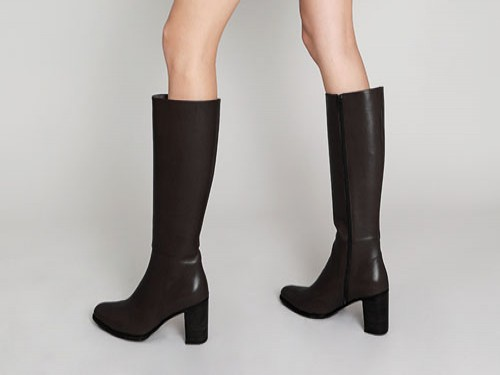 Bota Caña Alta Mujer Cuero Briganti Zapato Negro Tremont