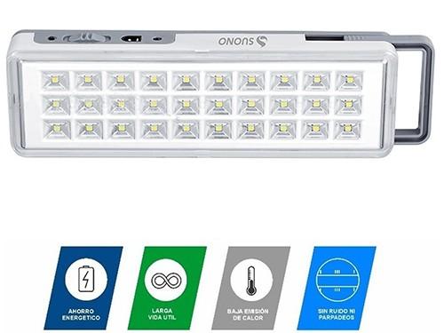 Luz De Emergencia 30 Leds Recargable USB 220v Compacta Slim