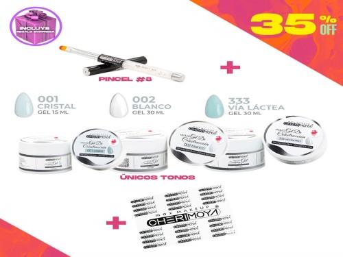 Combo 3 Geles de Construcción UV/LED + Pincel para gel Cherimoya