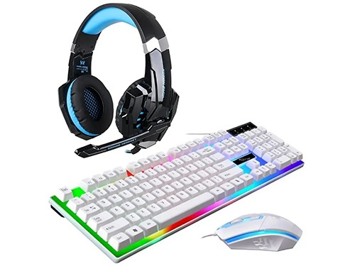 Auriculares Gamer Kotion G9000 Headset + Teclado Mouse White