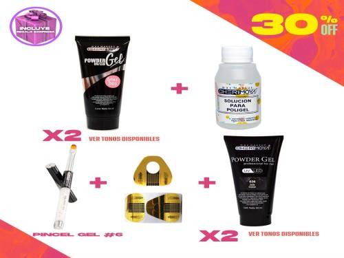 Combo 4 Powder Gel UV/LED 50ml + Diluyente + Pincel + Moldes Cherimoya