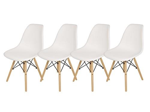 Silla Comedor Plástico Patas de Madera Con Respaldo Eames x 4 unidades