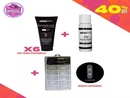Combo 6 Powder Gel Glitter UV/LED 50ml+ Diluyente + Capsulas Cherimoya