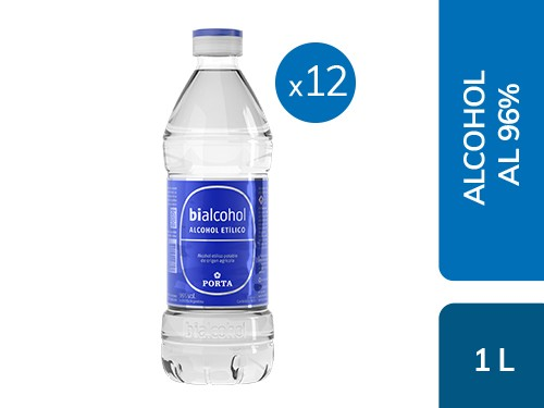 Caja x12 Alcohol al 96% 1L Bialcohol