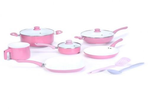 Bateria de cocina 9 piezas + 2 utensilios Carol Rosa (57232)