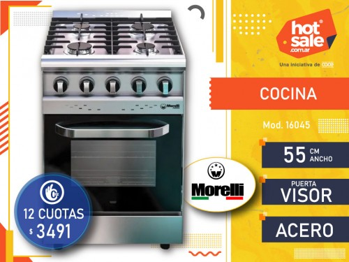 Cocina Industrial 16045 Acero 4 hor. ,  P.ta Visor 55 cm ancho Morelli