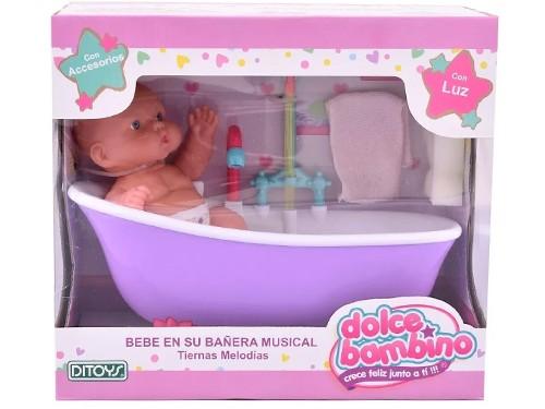 Juguete Bebe Con Bañera Musical Ditoys Luz Dolce Bambino