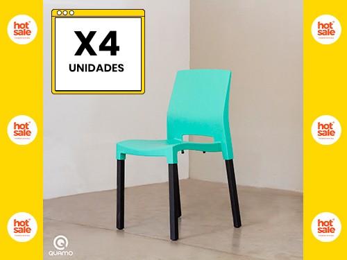 Silla de comedor QUADRA BLACK LEG ACQUA Pack x4 Unidades QUAMO