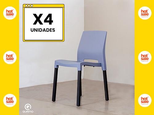 Silla de comedor QUADRA BLACK LEG BLUE GREY Pack x4 Unidades QUAMO