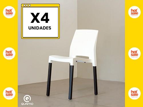 Silla de comedor QUADRA BLACK LEG WHITE Pack x4 Unidades QUAMO