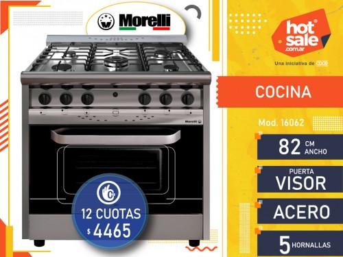 Cocina Industrial 16062 Acero Pta.ta visor 82 cm ancho,  Morelli