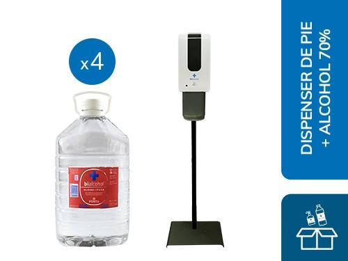 Dispenser de Pie Spray + 4 Alcohol al 70% 5L Bialcohol