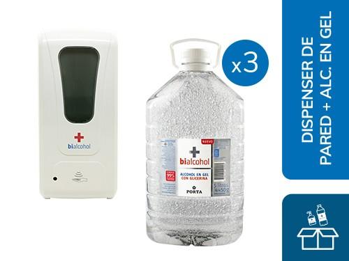 Dispenser Automático de Pared + 3 Alcohol en Gel 5L Bialcohol