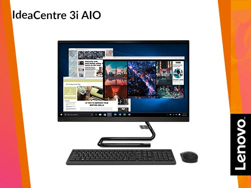 "All in One Lenovo i3 8gb 512GB SSD IdeaCentre AIO 3 27"" FHD Black"