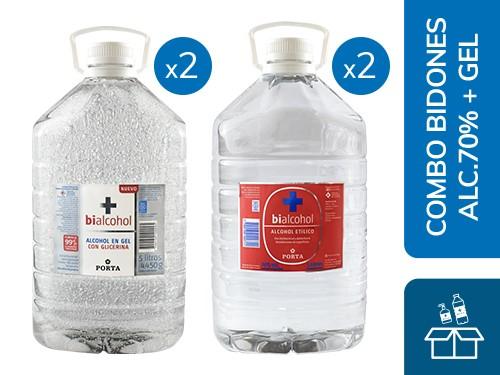 Combo Bidones Bialcohol: 2 Alcohol al 70% 5L + 2 Alcohol en Gel 5L