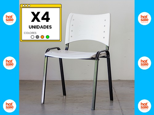 Silla Apilable Resistente KUDO Pack x4 Unidades VARIOS COLORES QUAMO