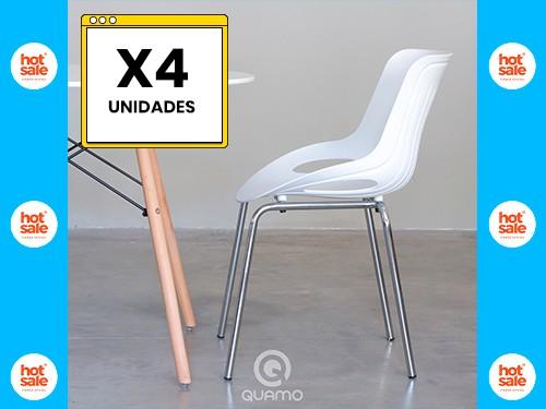 Silla de Comedor Pat as Cromada LENA Blanca Pack x4 Unidades QUAMO