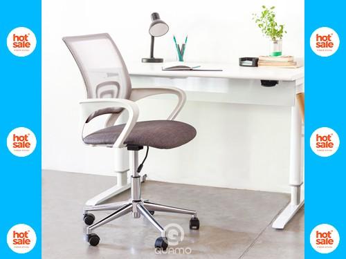 Silla de Escritorio Home Office FLOW BLANCA Regulable Mesh GRIS QUAMO