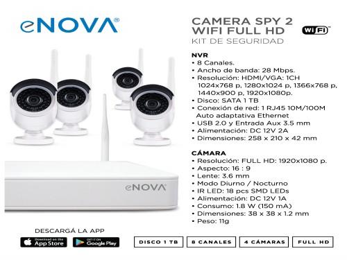 Camara seguridad wifi NVR 8CH + 2 CAM 1080p + 1TB eNova