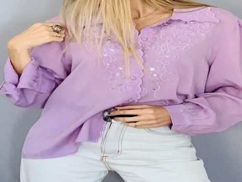 Camisa de mujer con bordados manga larga - TWINLP
