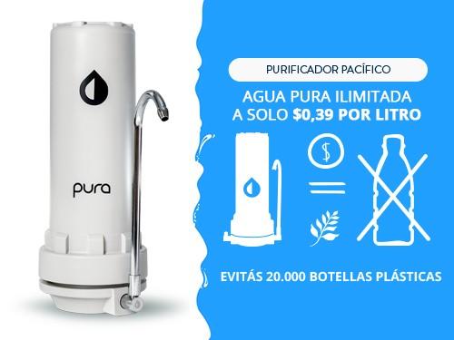 Purificador Agua Elimina Cloro Sabor Olor Filtro Sobre Mesada Pura