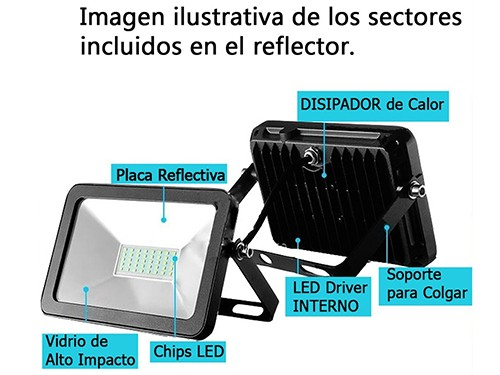 Reflector Micro Led 50w Exterior Bajo Consumo IP65