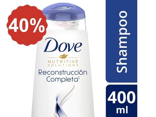 40% en Shampoo y Acondicionador Dove Reconstrucción Completa 400 Ml.