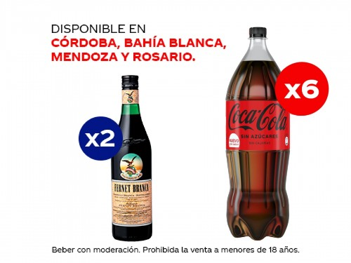 6 Coca-Cola Sin Azúcares 1.5 lt + 2 Fernet Branca 750 ml