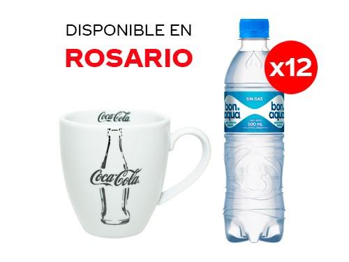 12 Bonaqua sin gas 500 ml + Taza Coca-Cola
