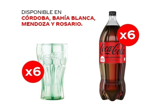 6 Coca-Cola Sin Azúcares 2.25 lt + 6 Vasos Coca-Cola
